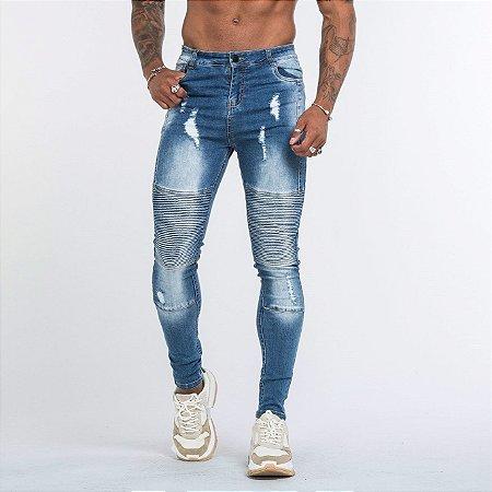 Calça Jeans Masculina Biker Skinny