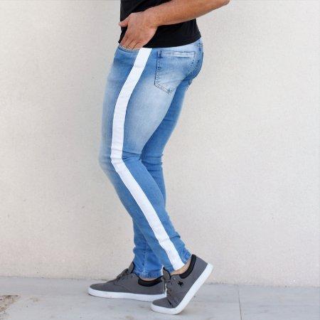 Calça Jeans Masculina Skinny com Faixa Lateral