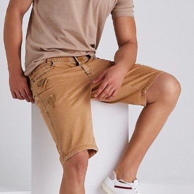 Bermuda Jeans Masculina Destroyed Victor - Ocre