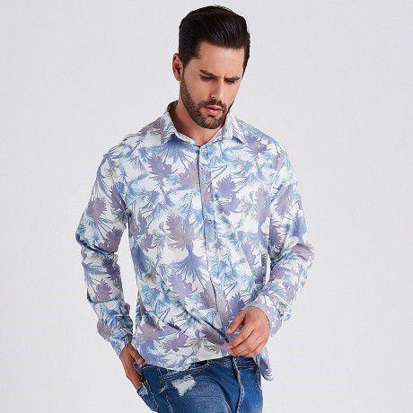Camisa Masculina Manga Longa Floral em Algodão