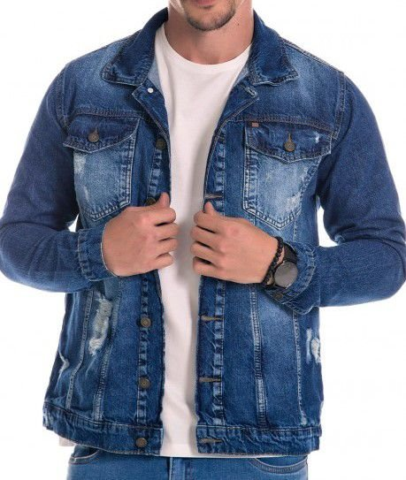 Jaqueta Jeans Masculina Destroyed