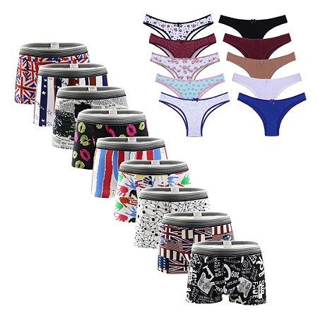 Kit com 10 Cuecas Boxer + 10 Calcinhas Femininas