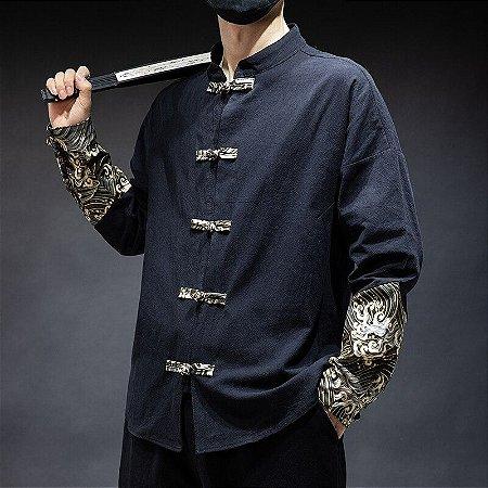 Camisa Masculina Estilo Kimono Chinês Retro