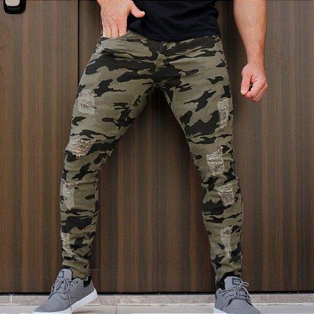Calça Jeans Masculina Destroyed Camuflada