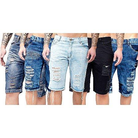 Kit com 3 Bermudas Jeans Masculinas - Destroyed ou Normal