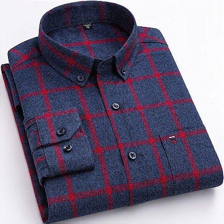 Camisa Xadrez Masculina 100% Algodão Aveludada