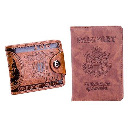 Kit com Carteira Masculina USA Dollar + Porta Passaporte USA