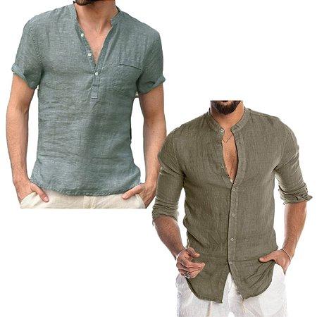 Kit com 2 Camisas em Linho Gola Padre Premium