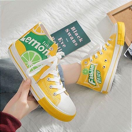 Tênis Feminino Cano Alto All Jeans Star Lemon - Edição Limitada