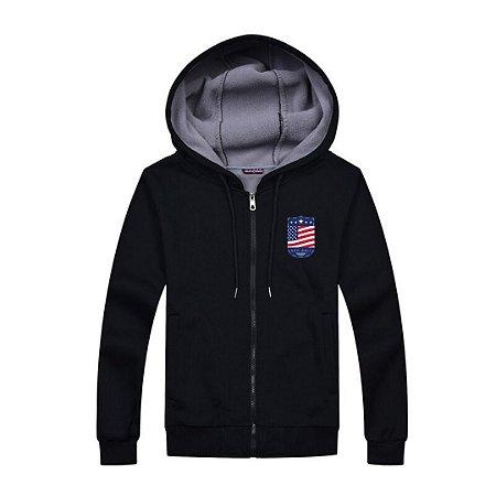 Jaqueta em Moletom com Capuz - Estados Unidos