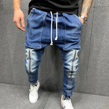 Calça Jeans Masculina com Zíper Frontal