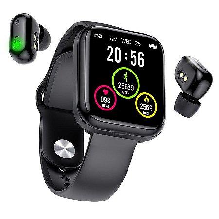 Relógio Smartwatch 2 em 1 X5 - Smartwatch com Fones Sem Fio