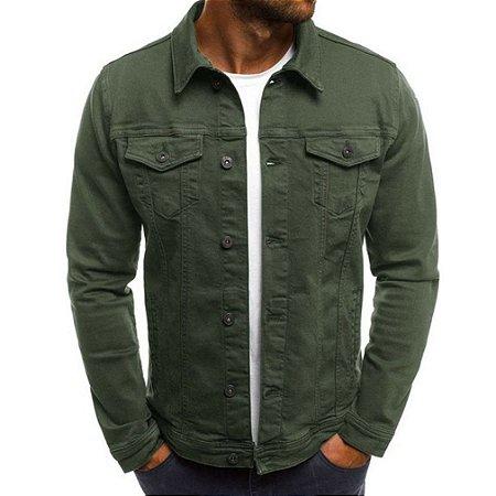 Jaqueta Jeans Masculina Tradicional - Verde Militar