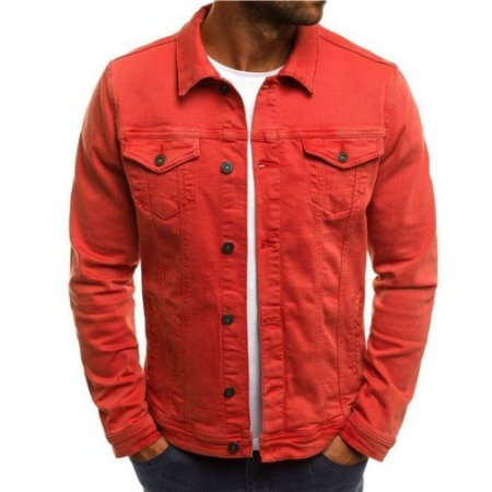 Jaqueta Jeans Masculina Tradicional - Vermelha