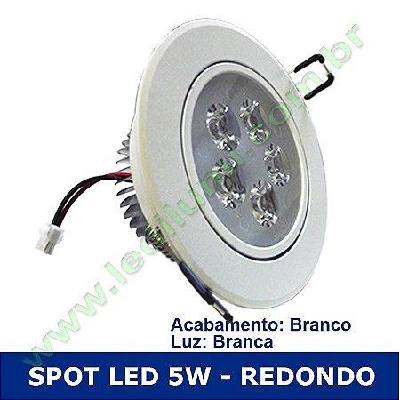 Spot Super Led 5W Redondo Embutir Branco - LEDILUMI