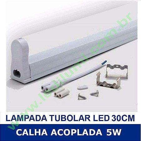 Lâmpada Tubular Led com Calha 30cm 5W - Ledilumi