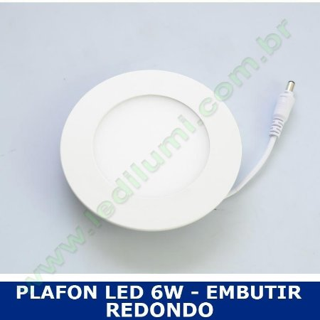 Painel Plafon Led 6W Embutir Redondo Ultra Slim Branco Frio - Ledilumi