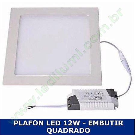 Painel Plafon 12w luminaria led quadrado embutir ultra slim - Ledilumi