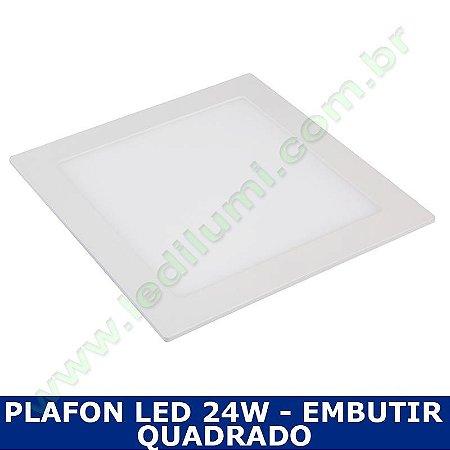 Painel Plafon 24w luminaria led quadrado embutir ultra slim - Ledilumi