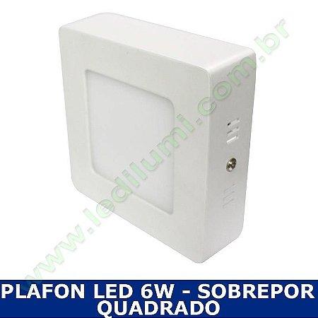 Painel Plafon Led 6W Sobrepor Branco Frio Quadrado - Ledilumi