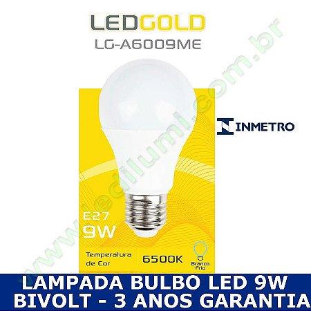 Lampada Bulbo Led 9W Branco Frio 6000K - INMETRO