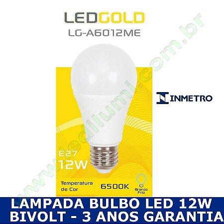 Lampada Bulbo Led 12W Branco Frio 6000K - INMETRO