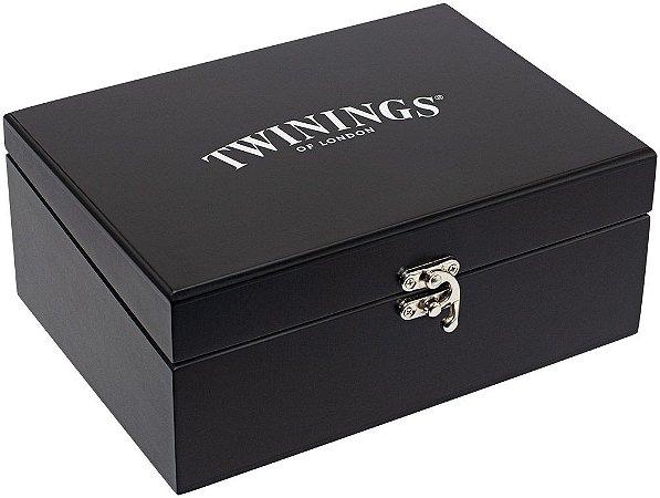 Twinings of London caixa de madeira para chás vazia com 6 divisões