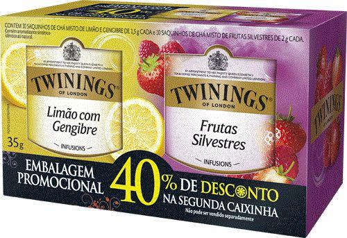 Twinings of London chá conjunto Frutas Silvestres e Limão com Gengibre caixa com 20 sachês