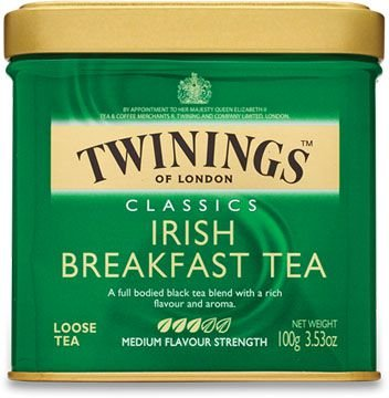 Twinings of London chá preto Irish Breakfast Tea lata com 100g