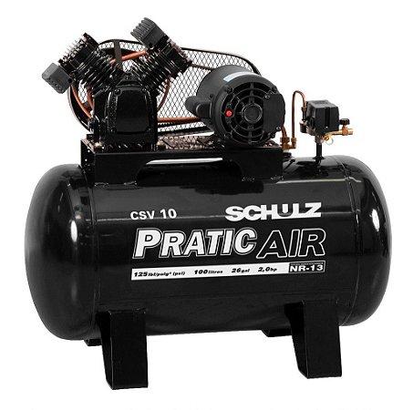Compressor de Ar Pratic Air Schulz - 2HP - 100 litros Monofásico