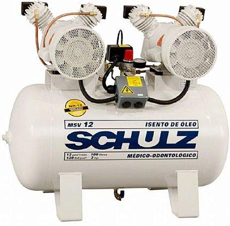 Compressor de Ar Odontológico Schulz - 2x1 HP 100 Litros - monofasico