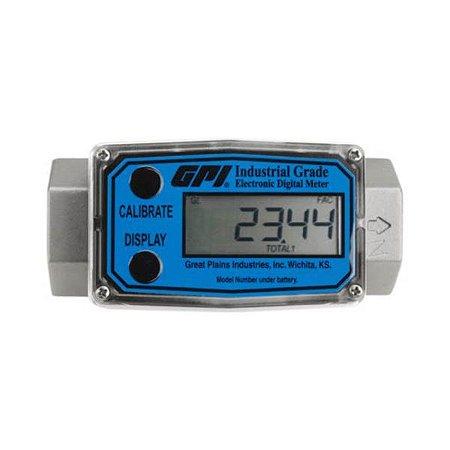 """Medidor Digital em Inox saída de 1/2"""" Vazão de 37,9 LPM - GPI"""