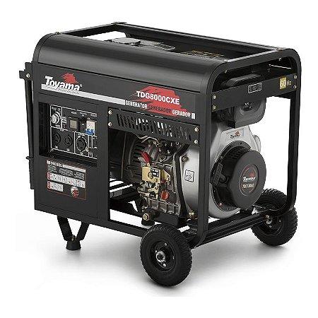 Gerador de Energia a Diesel Bivolt Partida Elétrica 6500W 13HP Monofásico - Toyama