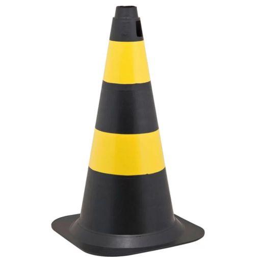 Cone de Sinalização 50 Cm – Preto e Amarelo
