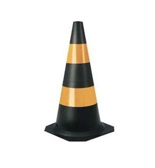 Cone de Sinalização Emborrachado Flexível 75CM - Preto e Amarelo
