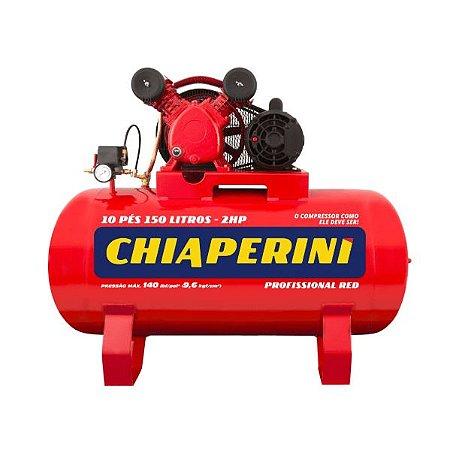 Compressor de Ar Red Média Pressão 10 Pés 140PSI 2HP 150 Litros 110/220V - CHIAPERINI