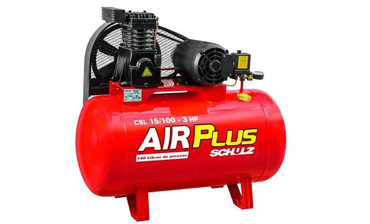Compressor Air Plus 3HP 15 Pés 100L 140PSI 220/380V Trifásico - SCHULZ