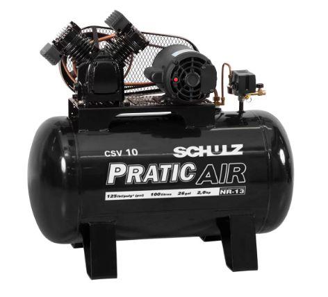 Compressor de Ar Pratic Air Mono 2HP 10 Pés 125 Libras - SCHULZ
