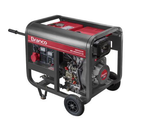 Gerador de Energia à Diesel BD 6500 5,0KVA 10CV Trifásico 220V com Partida Elétrrica - BRANCO