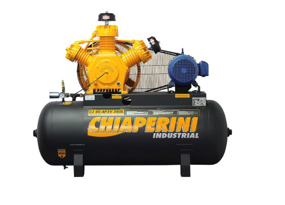 Compressor de Ar Alta Pressão Industrial 40 Pés 360L CJ40 AP3V 10HP Trifásico Contínuo 220/380V - CHIAPERINI