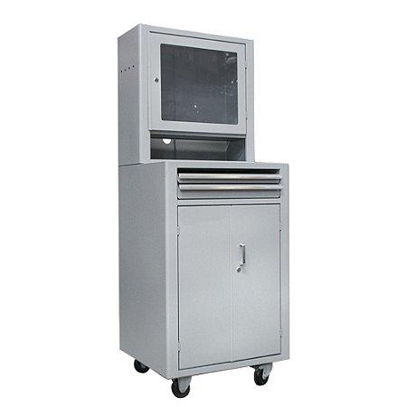 Rack para Computador fechado com visor de acrílico - Cinza