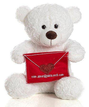 Urso de Pelúcia Cartinha 32cm - CORES DIVERSAS