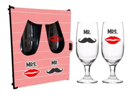 Dupla de Taças floripa na caixa MDF - Mr. Mrs.
