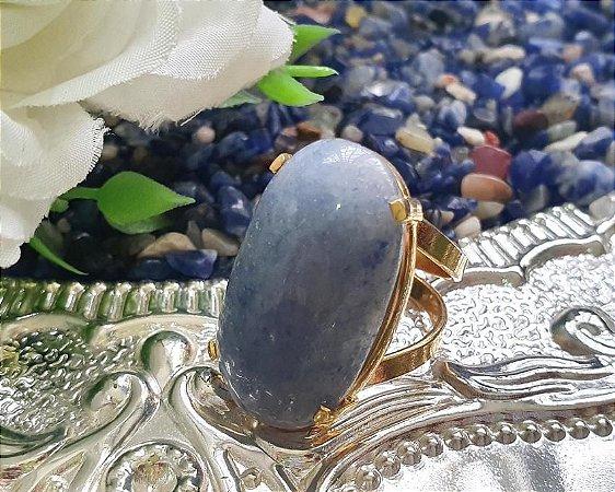Anel ajustável dourado - Quartzo Azul