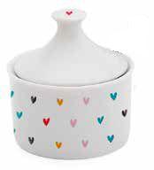 Açucareiro com tampa cerâmica 250ml - Coração colorido