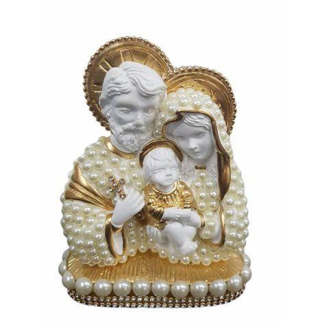 Busto Sagrada Família com perolas 13cm - Branca
