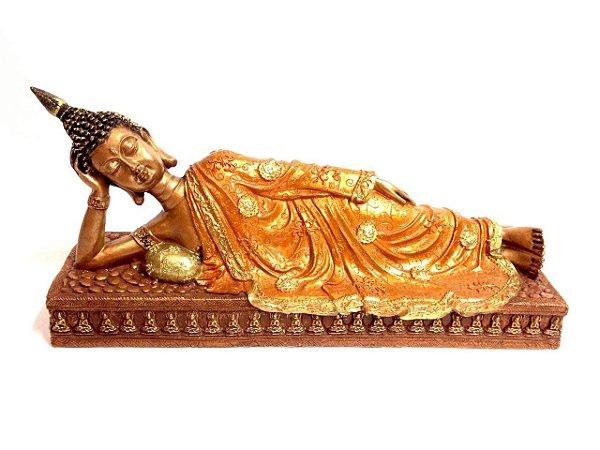 Luxuoso Buda Deitado Cromado