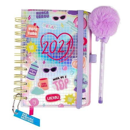 Agenda 2021 com caneta pompom- Amiga Incrível