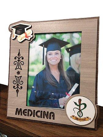 Porta Retrato MFD/Tecido - Medicina 15x21 cm