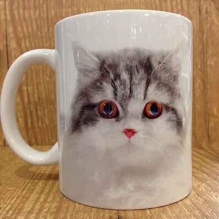 Caneca Pet - Eu amo Meu Gato (Branco/Cinza)